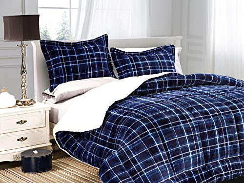 Elegant Comfort Softest, Coziest Heavy Weight Plaid Pattern Micromink Sherpa-Backing Premium Quality Down Down Alternative Micro-Suede 2-Piece Reversible Comforter Set, Twin/Twin XL, Navy Blue