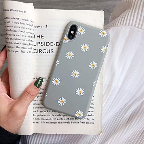 ZTOFERA Hülle für iPhone XR, Gänseblümchen Blume Design Schlank Hülle, Weich Flexibel Anti-Kratzer Bumper Schutzhülle für iPhone XR - Grau