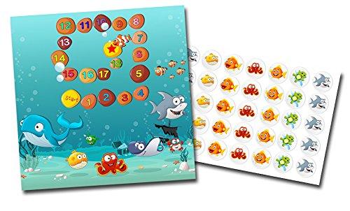 Potchentraining beloningskaart met stickers in de set Onderwater wereld - Schoonheidstraining kleurrijke stickers kinderen baby verzorging
