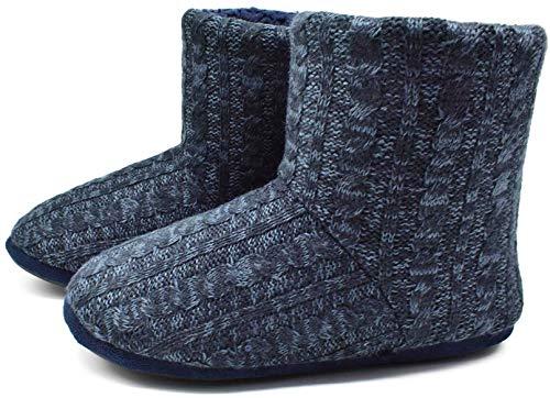 [COFACE] ルームシューズ スリッパ メンズ レディース 大きいサイズ ボアブーツ 冬用 暖かい 防寒 静音 洗濯可 14色 24.0~31.0 cm AR5897-ブルー・ブルー 26.5 cm