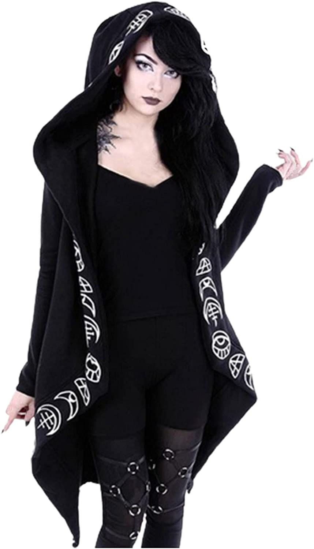 Cardigan Sweaters Women Loose Gothic Punk Long Sleeve Hooded Black Cardigan Zipper Jacket Coat