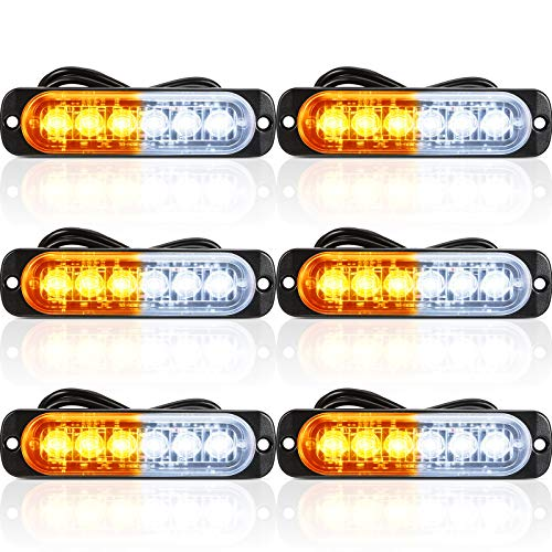 6 Pieces LED Emergency Strobe Lights Car Light Strobe Bars Surface...