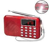 Retekess PR11 Radio de Poche AM FM Radio Portable Numérique Syntonisation avec Lecteur de Musique MP3 Lampe de Poche(Rouge)