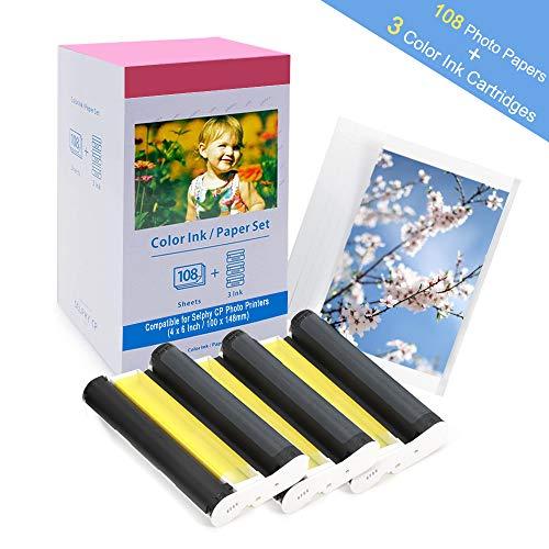 Compatible con Canon Selphy CP1300 CP1200 CP1000 CP910 Papel fotográfico y cartucho de tinta, KP-108IN 3115B001 (AA) compatible con la impresora Canon Selphy (108 hojas, 4x6')