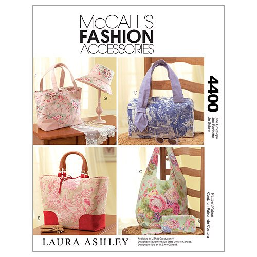 McCall's Patterns M4400 Handbags, Tote Bags, Hat and Accessories, One Size Only