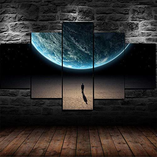 GSDFSD Hombre Solo en Espacio Universo Impresión de 5 Piezas Material Tejido no Tejido Impresión Artística Imagen Gráfica Decoracion de Pared Abstracto Oriente Cuadros Modernos Imagen