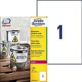 Avery L4775-100 Etichette Ultra Resistenti Poliestere, Certificate Ghs, 100 ff, 210 x 297 mm, Bianco, 100 Pezzi