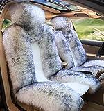 OKAYDA Car Seat Cover Genuine Australia Sheepskin High Low Wool Luxury Front Seat Cover Fits Car, Truck, SUV, or Van (1 Piece) (Grey Tips Wool)