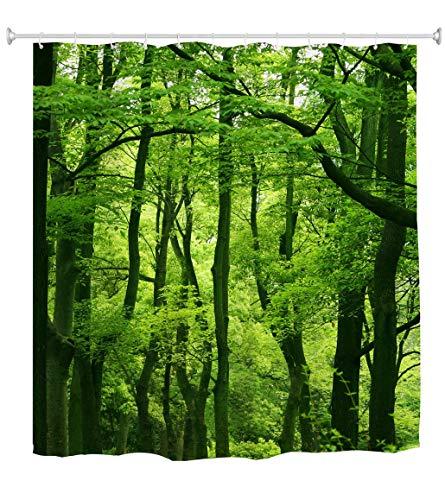 goodbath Grüner Wald Wasserdichtes Stoff Badezimmer-Duschvorhang-Set aus Stoff mit Haken,180 x 180 cm
