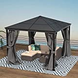 Finefind Hardtop Gazebo Aluminum Frame and Polycarbonate Hardtop Outdoor Gazebo with Netting and Curtains for Garden Patio