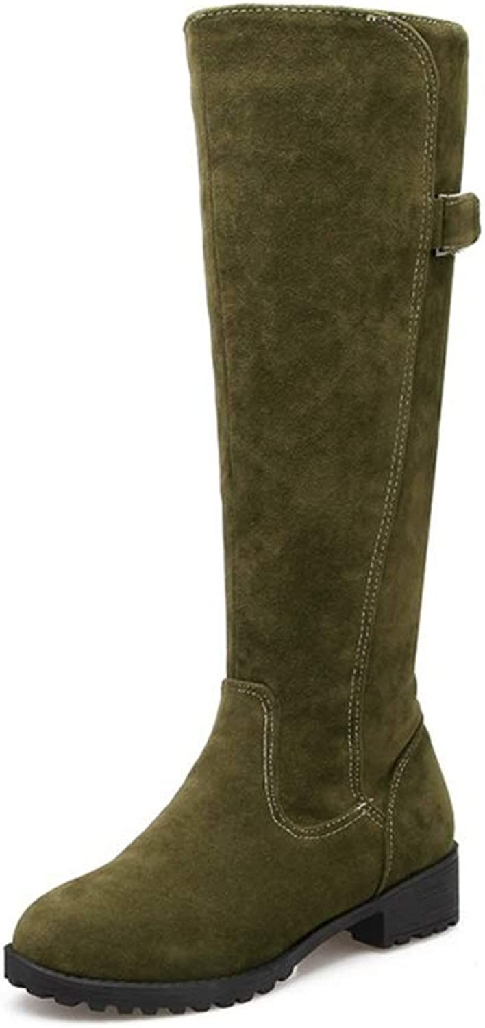 CHENSF Womens Faux Suede Block Heel Over The Knee Stretch Boots