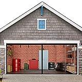Magnetic Garage Screen Door 16x7FT for Double Garage Doors - Fiberglass Garage Screen Cover Kit Garage Door Curtain,Stronger High Energy Magnets,Hands Free Magnetic Screen Door