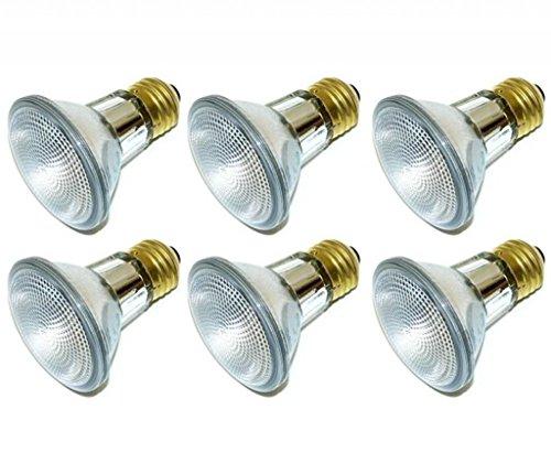 Pack of 6 39PAR20/FL 120V 39 Watt High Output (50W Replacement) 39W PAR20 Flood 120 Volt Halogen Par 20 Light Bulbs