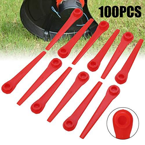 Stecto Cuchillas de Repuesto de Plástico, 100 Piezas 70mm Cortadora de Césped Duradera Premium Cortadora de Césped Accesorios para Podadoras de Césped y Cortadoras de Batería.