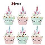 Konsait Kuchenaufsätze Einhorn Mini Cupcake Toppers und Wrappers Verpackung Beidseitig