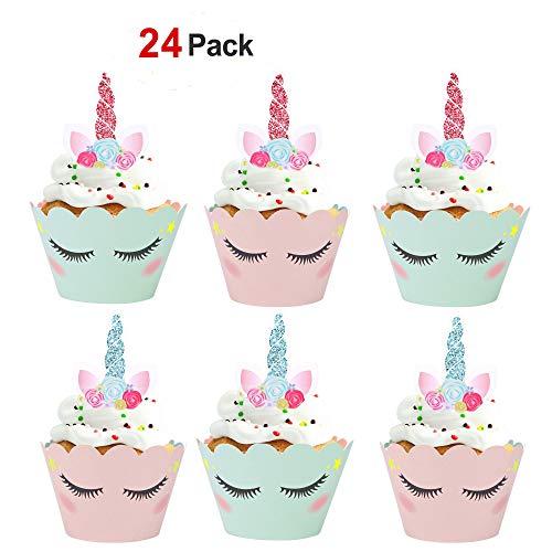 Konsait Licorne Cupcake décorations, Licorne Cupcake Toppers Décorations Gâteau et Cupcake Wrappers pour Noce Enfant fête d'anniversaire décorations Fournitures (24Pack)