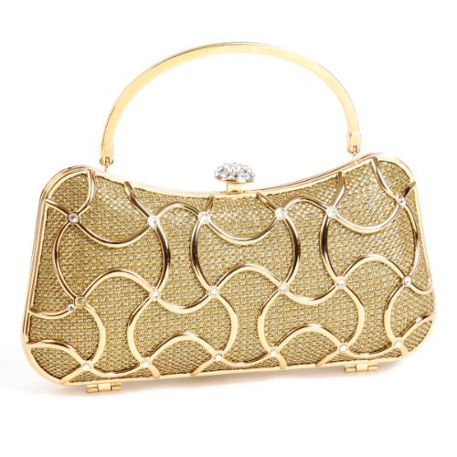 Damara Elegant Metal Damen Hartschalen Clutch Handtasche,Gold