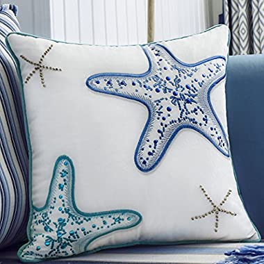 V&M VALERY MADELYN Valery Madelyn 18x18 Inch Ocean Park Theme Velvet Decorative Pillow Cover for Sofa Couch, Embroidery Blue Green Starfish with Wooden Bead and Piping