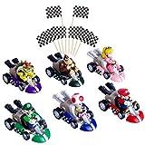 POQUAN 6 Pcs Mini Mario Kart Pull Back Cars Cake Topper Figures Toy Set (2'),12 Pcs Racing Flag Cakecup Topper