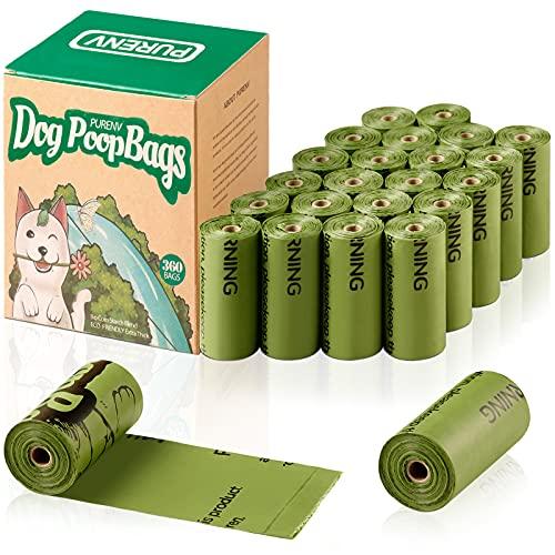 PURENV Biodegradables Bolsas Caca Perro, Extra Gruesa Prueba de Fugas Bolsas Hecho de la Mezcla de almidón de maíz (360 Bolsas)