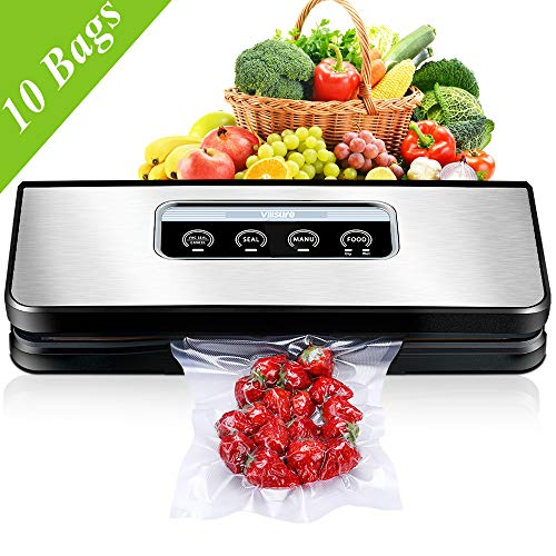 Vacuum Sealer Machine for Food Preservation, Villsure Food Sealer Automatic Vacuum Sealing System with Hose Attachment and Sealing Bags Starter Kit, Fresh Up to 5x Longer