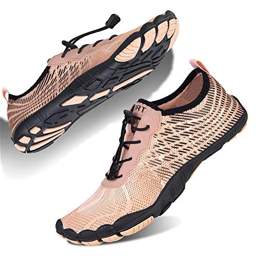 Damen Badeschuhe barfußschuhe Wasserschuhe rutschfeste surf Schuhe Strandschuhe Dicke Aquaschuhe(Ydk.Hautfarbe/Schwarz,38 EU)