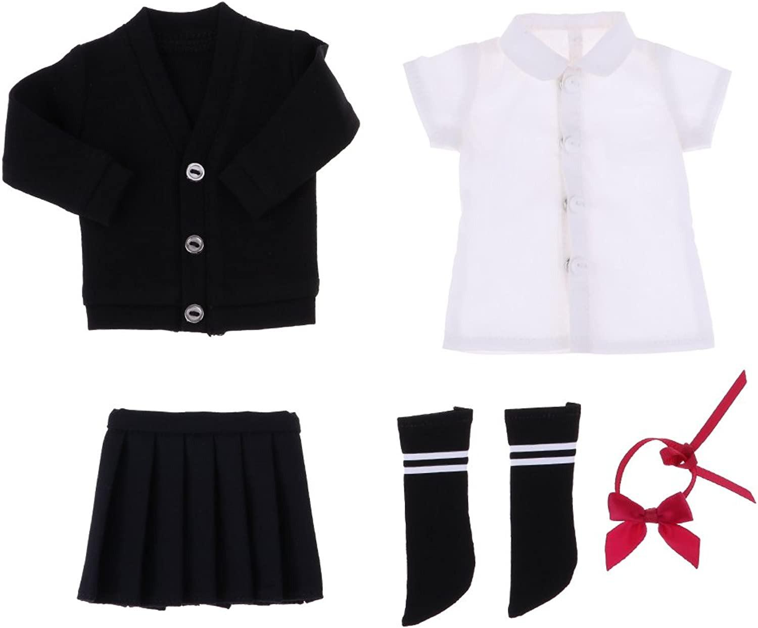 Prettyia 1 6 Scale BJD Doll Dress-up Accessory School Uniform Outfits Black And White