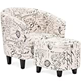 Best Choice Products Modern Contemporary Linen Upholstered Barrel Accent Chair Furniture Set for Home, Living Room w/Arms, Matching Ottoman, Birch Wood Legs - White, French Print Detail