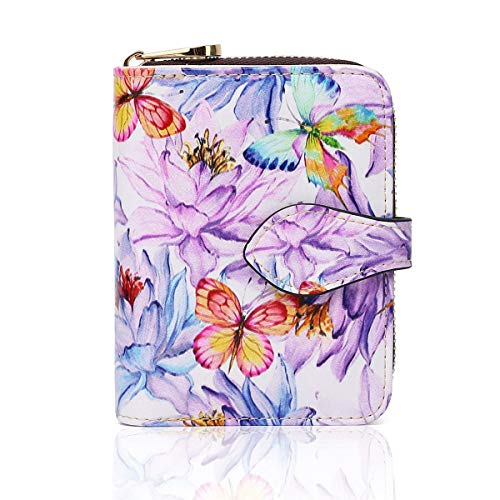 APHISON Credit Card Wallet RFID Blocking Wallet for Women Small Purse Accordion Style Card Holder Ladies Cute Credit Organizer Cartoon Pattern Purses for Girls Gift Box Purple Butterfly 045