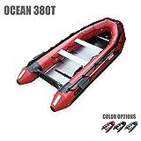 Seamax ocean380t 12.5フィート商用グレードインフレータブルボート、5Pontoon Chambers、アルミ製床、V下、Maxサポート25hpモーター、沿岸警備隊標準反射テープ、多目的
