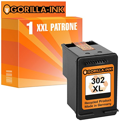 Gorilla-Ink 1x Tintenpatrone remanufactured für HP 302 XL Schwarz mit Füllstandsanzeige und 135% mehr Inhalt! HP Deskjet 1110 2130 3630 3630 Series 3631 3632 3633 3634 3636 3637