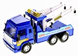 PowerTRC Big Heavy Duty Wrecker Tow Truck Police Toy for Kids with Friction Power (with Double Hooks)