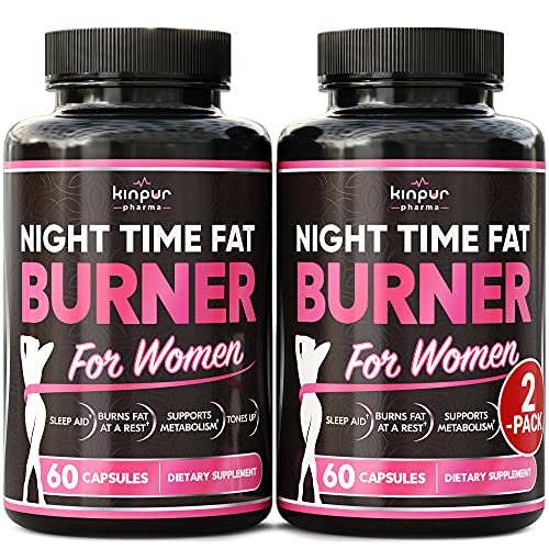 (2 Pack) Night Time Fat Burner for Women - Aids While You're Asleep - Supports Metabolism, Helps Promotes Restful Sleep, Manage Cravings, Enhance Performance - Premium Weight Loss Pills for Women