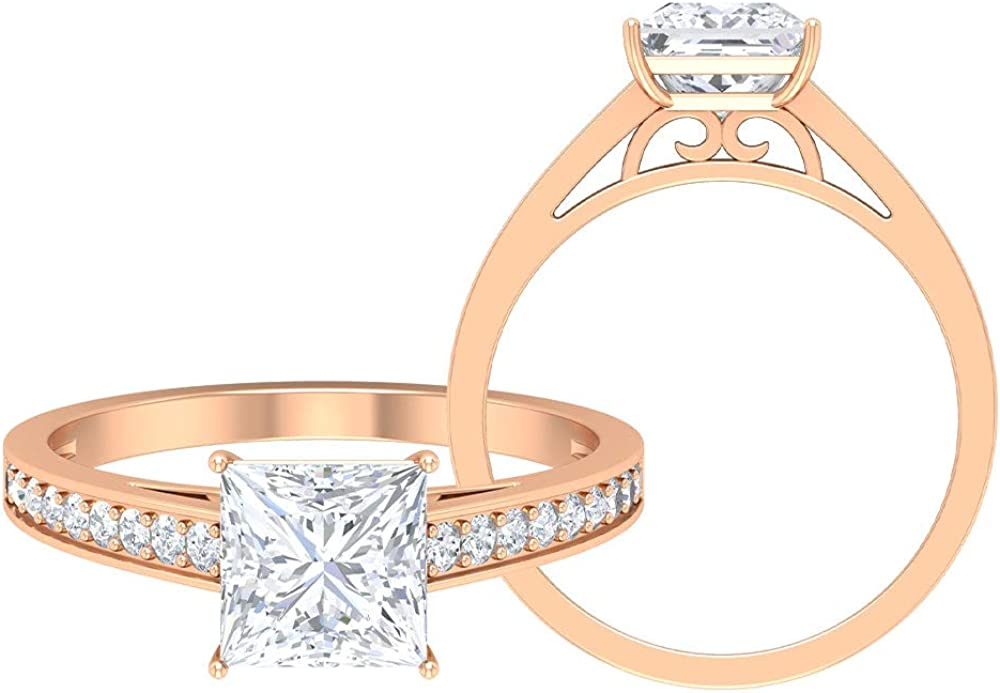 Princess Cut Moissanite Ring, Unique Wedding Ring, D-VSSI 1.81 CT Moissanite Solitaire Ring, Bridal Statement Ring, Vintage Engagement Ring, 14K Gold