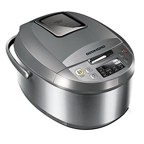 Multicooker REDMOND RMC-M4500E (englisch), Multikocher mit 10 Kochprogrammen (Joghurt, Dampfgarer, Warmhalten, Suppe, Backen), LCD-Display, 5 Liter (Silber)