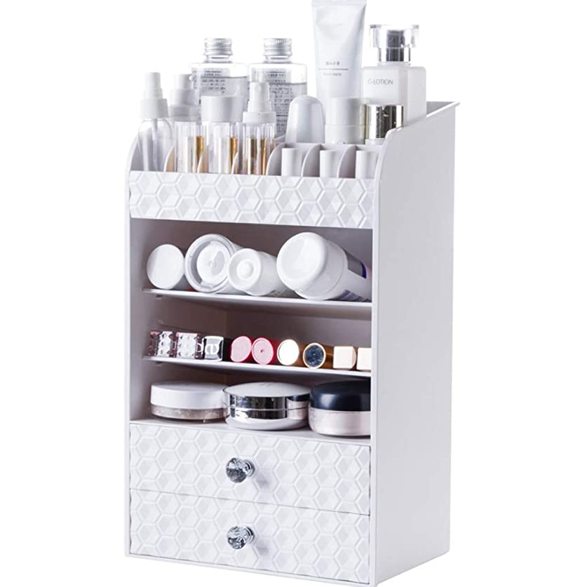 以来クッションインド引き出しタイプ化粧品収納ラック化粧オーガナイザーステーションデスクトップ口紅棚多層ドレッシングテーブルスキンケア収納ボックス (色 : 白)