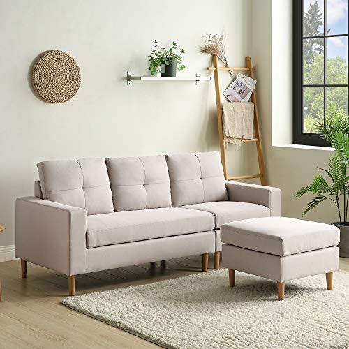 Leisure Zone Fabric Corner Sofa Couch L Shape Sofa Settee 3 Seater Sofa with Lounge Ottoman, Left & Right Hand Side for Living Room Furniture (3 Seater Corner Sofa)