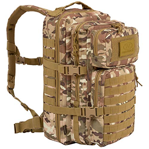 Highlander Military Tactical Assault Backpack – The Recon 28L Waterproof Daysack with Multiple MOLLE Attachment Points for Extra Accessories and Equipment Multi Terrain Camo
