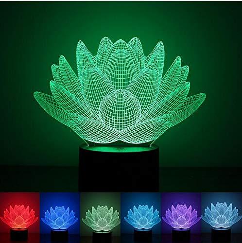 Only 1 Piece USB LED Night Light Lotus Flower 3D Color Gift Lamp Touch Kid Child Living Bedroom Table Desk Light lamp