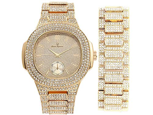 Bling-ed Out Oblong Case Metal Mens Watch w/Matching Bling-ed Out Bracelet Set - 8475B (Gold/Gold)