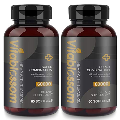 Softgel Capsules 60000MG | 60 Softgels with Turmeric 95% Curcuminoids and Black Pepper Extract | Highly Absorbed | Suitable for Vegetarians & Vegans