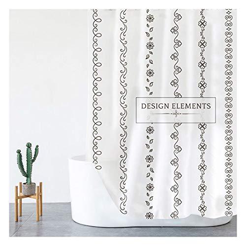 Frisse stijl douchegordijn Waterdicht badkamer partitie Polyester bad gordijn for badkuipen en douchecabines (Color : B, Size : 180X200cm)
