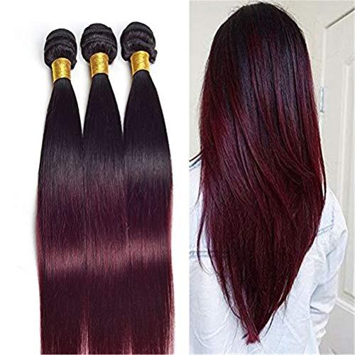 De vrais cheveux humains Hair de la lumière brésilienne de cheveux humains tisse une longue perruque de cheveux raides Lady sexy et élégante longue perruque noire (Size : 22 inch 1pc)