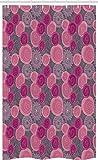 ABAKUHAUS Rosa & Grau Schmaler Duschvorhang, Gekritzel-Blumen, Badezimmer Deko Set aus Stoff mit Haken, 120 x 180 cm, Magenta Fuchsienfarben Grau