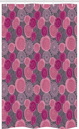 ABAKUHAUS Roze en Grijs Douchegordijn, Lace Gewerveld Circle, voor Douchecabine Stoffen Badkamer Decoratie Set met Ophangringen, 120 x 180 cm, Fuchsia Magenta Gray