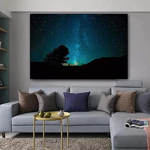 Pintura em Lona Céu Noturno Estrelas Espaço Cartazes e Impressões Decoração de Casa Arte de Parede Fotos para Sala 40X60cm Sem Moldura