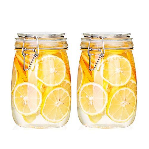 FARI Tarros de almacenamiento de vidrio con tapa hermética con bisagras a prueba de fugas, recipiente de almacenamiento de alimentos (2, 1000 ml)