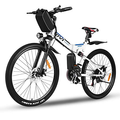 Vivi 350W Folding Electric Bike,26'' Electric Mountain Bike,with 36V 8Ah Removable Lithium-Ion Battery,E-Bike for Adults,Shimano 21-Speed (White Blue)