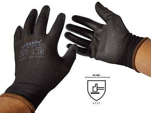 12 Paar Arbeitshandschuhe Bauhandschuhe Montagehandschuhe mit PU-Teilbeschichtung von Ulith EN 420 EN 388 unterschiedliche Größen in schwarz erhältlich Gr L 9 Farbe schwarz