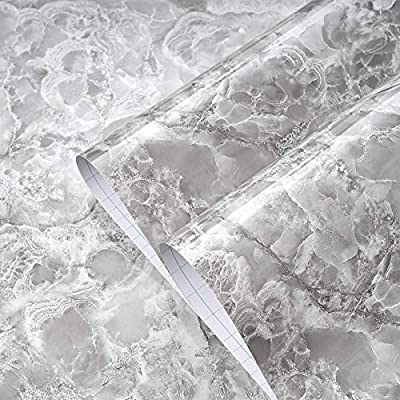 """Beautysaid Marble Contact Paper Granite Grey/ White Self Adhesive Paper for Kitchen Countertop Cabinet Furniture Dressing Table Removable Wallpaper Waterproof and Oil-Proof 15.7"""" x 118"""""""